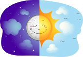 Illustration of a Split-screen Showing the Sun and the Moon