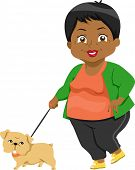 Illustration Featuring an Elderly Woman Taking Her Dog for a Walk