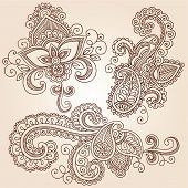 Hand-Drawn Henna Paisley Flowers Mehndi Doodles Abstract Floral Vector Illustration Design Elements