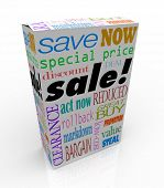 The word sale on a product box, merchandise or package to symbolize savings, discounts, clearance, special price, low cost, value, reduction or other event at store for saving money
