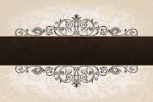 Vector calligraphic brown banner with decorative background. Vintage patterned border