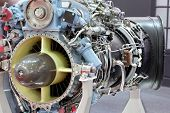 foto of ultralight  - Motor of helicopter with turbine on exhibition - JPG