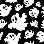 Plano de fundo sem emenda com fantasmas 1 - ilustração do vetor.