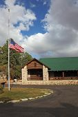 Tourist Information Center near the Grand Canyon.U.S. State Flag is fluttering in the wind
