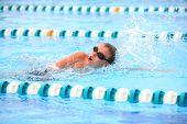 picture of swim meet  - Boy swimming Freestyle - JPG