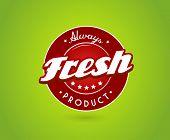 Tablero verde con signo de producto fresco.