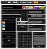 Black web design elements set. Vector illustration