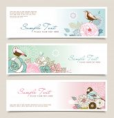 Set of horizontal banners with flowers and birds