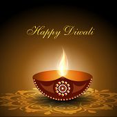 Beautiful illuminating Diya background for Diwali or Deepawali festival. EPS 10.