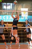 KAPOSVAR, HUNGARY - MARCH 16: Dora Ihasz (7) in action at the Hungarian Championship volleyball game