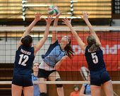 KAPOSVAR, HUNGARY - MARCH 16: Zsofia Harmath (3) in action at the Hungarian Championship volleyball