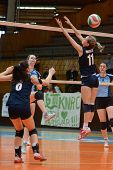 KAPOSVAR, HUNGARY - MARCH 16: Julia Karacsonyi (11) in action at the Hungarian Championship volleyba