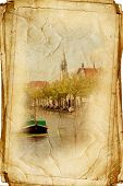 views of Dutch city of Delft made in vintage style, like postcards