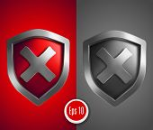 Shield with cross mark. Vector illustration