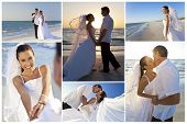 Wedding montage of a married couple, bride and groom, together at sunset on a beautiful tropical bea