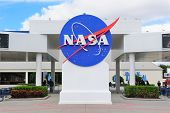 MERRITT ISLAND, FL - FEB 12: NASA logo in Kennedy Space Center on February 12, 2012 in Merritt Island, Florida. It is the launch site for every United States human space flight since 1968.
