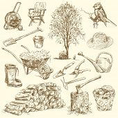 gardening tools - hand drawn collection