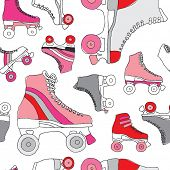 Seamless retro disco roller skates derby background pattern in vector