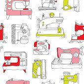 Sem costura máquina de costura vintage fazê-lo você mesmo fundo padrão em vetor