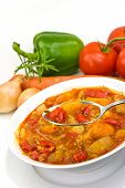 .Chicken Breast Soup-Stew-  With Mixed Vegetable And Red Bell Pepper