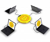 stock photo of computer-generated  - Computer generated photo of a Bitcoin electronic currency - JPG