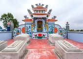 Vietnam Quang Binh Province March 2012: Detail Of Family Grave Plot And Shrine On Cemetery.