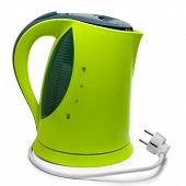 green tea electric kettle isolated on white background with clip
