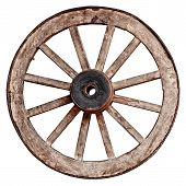 foto of wagon wheel  - Old wooden wagon wheel isolated on white background - JPG
