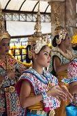 Bangkok, Thailand Apr 25Th: Dancers Perform At The Erawan Shrine On April 25Th 2011. They Are Hired