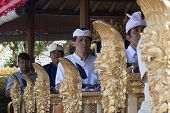 Bali, Indonesia-jul 6Th: A Gamelan(musical Ensemble) Plays During The Galungan Festival On July 6Th