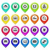 Map marker with icons-set four