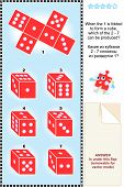 Visual math puzzle with red dice cubes