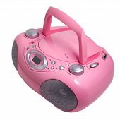 picture of dick  - mp3 pink stereo cd radio cassette recorder isolated on a white background - JPG