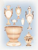 collection of decorative ceramic vases