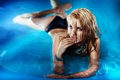 Portrait Of Sexy Young Female Enjoying In Swimming Pool.