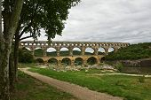 foto of aqueduct  - View of an ancient Roman aqueduct in France
