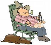 stock photo of hillbilly  - This illustration depicts a hillbilly in a rocking chair with a cat on his lap and a dog at the side - JPG