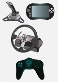 stock photo of video game  - Collection of 4 different pieces of devices for computer video games - JPG