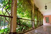 stock photo of hacienda  - Outside corridor at an spanish hacienda in Ecuador - JPG