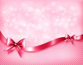 image of bowing  - Holiday pink background with gift glossy bows and ribbon - JPG