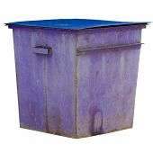 purple trash dumpster isolated on white background