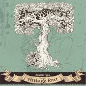 Magic grunge forest hand drawn by a vintage font - T