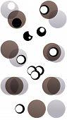 Retro Circles In Brown Grey & Black
