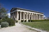 stock photo of akropolis  - Parthenon Greece with clear blue sky day time - JPG