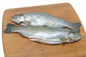 Trout On A Cutting Board On A White Background