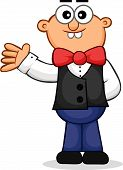 Waiter Waving Cartoon