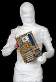 Man Of Bandaged With Motherboard