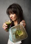Pretty Girl With Unappetizing Health Shake