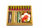 Wooden Gift Box With Natural Indian Incense Isolated On White