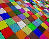 Skew multicolor floor fleeing to the horizon